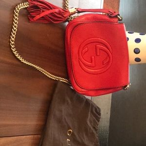Gucci Bags - Gucci red Soho disco bag on chain
